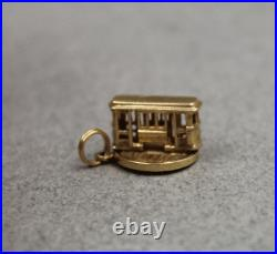 14K Gold Cable Car San Francisco California Trolley Movable Charm or Pendant