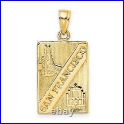 14k Yellow Gold San Francisco California Words with City Landmarks Pendant