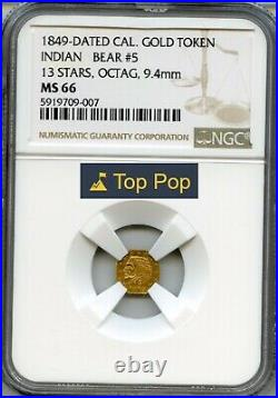 1849 California Gold Token 1/4 13 Stars / NGC MS66 Top Pop! Finest Known