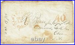 1850 San Francisco, CA cancel on cover to Concord, OH 40 in red