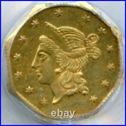 1853 Octag Liberty G1$ California Gold / BG-531 PCGS AU58 Strong Strike