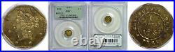 1853 One Dollar California Fractional Gold PCGS MS-61 BG-523