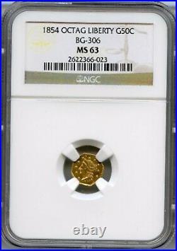 1854 Oct Lib G50C California Gold / BG-306 NGC MS63 Better Period One
