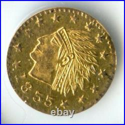 1855 1/2 Rd California Gold, Wreath #4b, Indian #1, 13 stars Prooflike Obverse