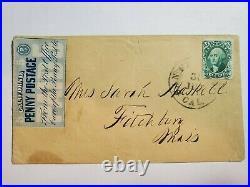 1855 San Francisco California Penny Post Co 5 cent Blue Scott 34L4 Local Cover