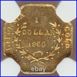 1860 Oct G1$ California Fractional Gold / BG-1102 NGC MS65 High Grade! POP 5/0
