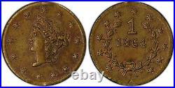 1864 Rd Lib G1$ California Gold / BG-1328 PCGS AU POP 1! / Civil War Date