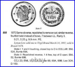 1870 RD Lib G25C California Fractional Gold / BG-808 NGC