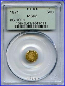 1871 Rd Lib G50C California Fractional Gold / BG-1011 PCGS MS63 OGH