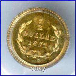 1871 Rd Lib G50C California Fractional Gold / BG-1011 PCGS MS65