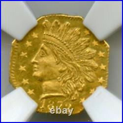 1872 Oct Ind G25C California Fractional Gold / BG-791 NGC Rotated Die