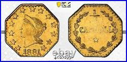1881 Oct Lib G50C California Gold BG-964 PCGS Gold AU58 / R7 PCGS PLATE COIN