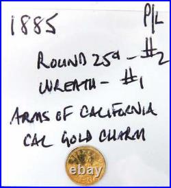 1885 Arms of California Gold Token Proof-like Condition 15 K Gold Tested RARE