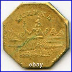 1886-DATED CAL. GOLD ARMS OF CALIF WREATH #2 ROUND, 11.4mm NGC POP 1 H7+