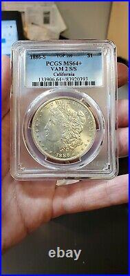 1886 S Morgan Dollar PCGS MS64+ Top 100 VAM 2 S/S California Collection Slab506