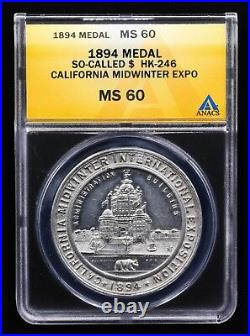 1894 California Midwinter Expo Electric Tower Medal Hk-246 Sh 7-5 Al Anacs Ms 60