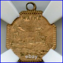 1898 U. S. S. Maine Old Glory Token, California Gold Type / NGC AU SCARCE