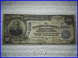 1902 $10 San Francisco California CA Date Back National #9655 Bank of California
