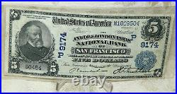 1902-db $5 The Anglo & London Paris National Bank Of San Francisco, California