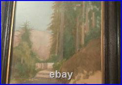 1905 WEISBROD San Francisco Arts Crafts vtg calif redwood tree antique painting