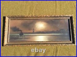 1905 era Pastel Painting SAN FRANCISCO Cityscape California Ferry Building-Ship