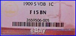 1909-S VDB 1C Lincoln Cent NGC F 15 BN