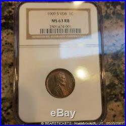 1909 S Vdb Cent, Key Date, Rare, San Francisco Mint Estate 0307