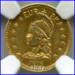 1915 ONE California Gold Minerva Round, Hart's Coins of the West / NGC MS63 R6