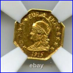 1915 Oct Minerva California Gold / Hart's Coins of the West / NGC MS66 CMOQ-2