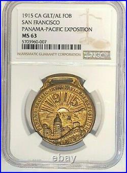1915 Panama-Pacific Expo. NGC MS63 Gilt/AE FOB San Fran Skyline With Sun Setting