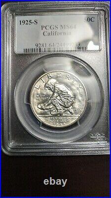 1925-S California Classic Silver Commemorative 50C PCGS MS 64 BLAST WHITE COIN
