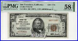 1929 $50 Crocker First National Banknote San Francisco California Pmg Au 58 Epq