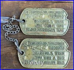 1942 1943 WWII NOK Dog Tags San Francisco California Next of Kin USA