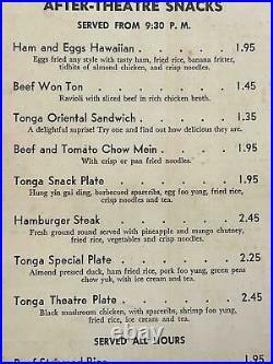 1950's Fairmont Hotel TONGA ROOM Menu Nob Hill San Francisco California Tiki