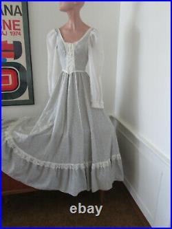 1970s Hippie Boho FESTIVAL Corset Lace Up MAXI Prairie Dress San Francisco
