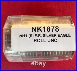2011 (S) BU $1 American Silver Eagles. Minted at San Francisco Mint. Roll of 20
