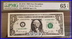 2013 $1 San Francisco Star Note L00006360 Low Serial Number Only 80k Run RARE