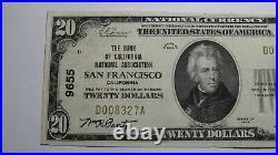 $20 1929 San Francisco California CA National Currency Bank Note Bill #9655 VF