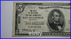 $5 1929 San Francisco California CA National Currency Bank Note Bill Ch #9655 VF