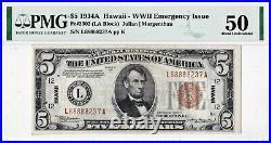 $5 1934 A HAWAII HI San Francisco California CA War Time WWII Emergency Issue