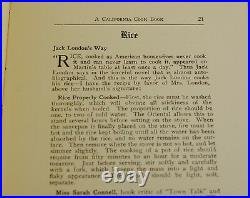 A California Cook Book by SARAH WILLIAMSON First Edition 1916 JACK LONDON