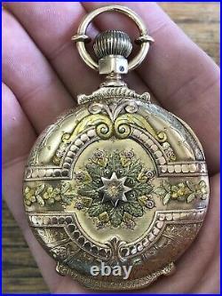 Antique 14k MULTI COLOR Gold SAN FRANCISCO California 16s POCKET WATCH Stunner