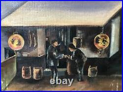 Antique 19th California American Folk Art Oil Painting, San Francisco Chinese