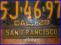 Antique California License Plate with matching San Francisco Plate Topper