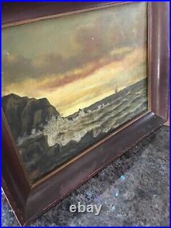Antique Early California Seascape Painting Signed T. Slight San Francisco Ship
