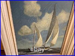 Antique Oil Painting Sailboat by L. Raymond San Francisco Bohemian Art Colony