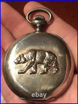 Antique SHREVE & CO. San Francisco 16s Sterling POCKET WATCH with California BEAR