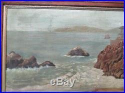 Antique San Francisco Painting Early California Coastal Primitive Landscape Old