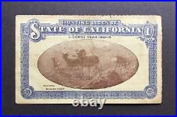 Antique Vintage 1913-1914 California Hunting License San Francisco Resident