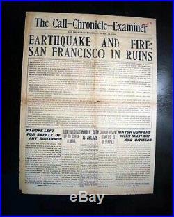 Best SAN FRANCISCO EARTHQUAKE California Fire Disaster 1st Report 1906 Newspaper